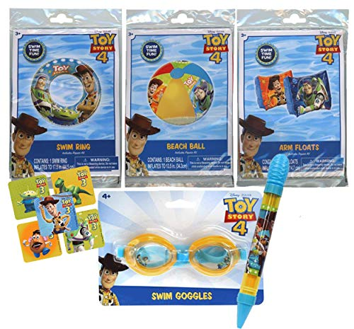 UPD Licensed Swim Sets! Pool Toys Bundle! Swim Ring, Arm Floats, Beach Ball and Water Blaster in All Your Favorite Characters! (5 Piece, Toy Story)