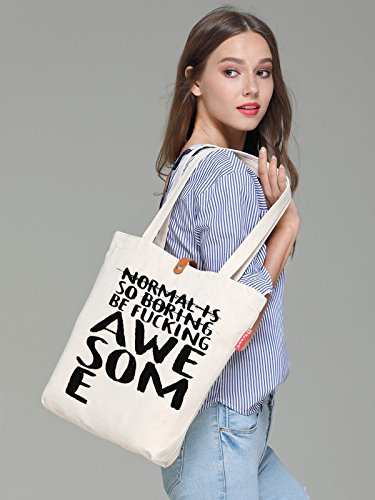 So'each Women's Awesome Letters Graphic Handbag Canvas Tote Shopping Bag