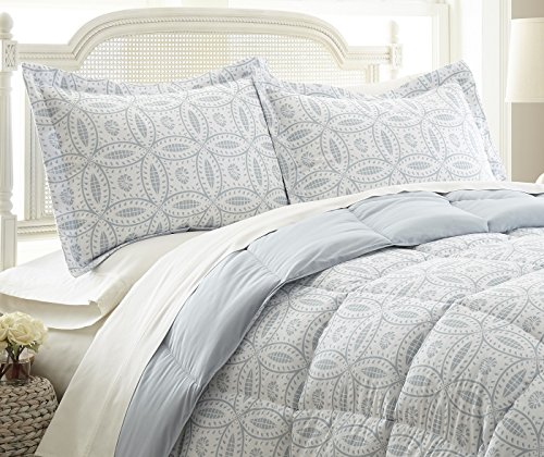 "Chezmoi Collection Dayton 3-pc Down Alternative Comforter Set Reversible Light Steel Blue Medallion Floral Pattern (King) - 3-piece Down Comforter Set 1 Comforter 102"" x 90"", 2 Shams 20"" x 36 + 2"" Reversible medallion top side pattern and solid light steel blue underside - comforter-sets, bedroom-sheets-comforters, bedroom - 51VHzQ qLvL -"