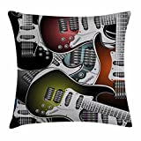 Popstar Party Throw Pillow Cushion Cover by Ambesonne, Pile of Graphic Colorful Electric Guitars Rock Music Stringed Instruments, Decorative Square Accent Pillow Case, 24 X 24 Inches, Multicolor