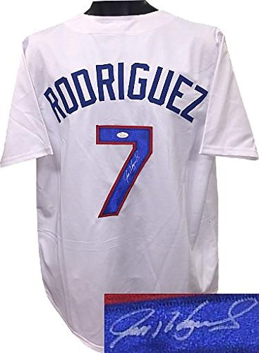 Signed Ivan Rodriguez Jersey - White TB Custom Stitched XL Hologram - JSA Certified - Autographed MLB Jerseys
