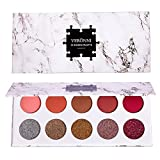 10 Colors Highly Pigmented Pro Matte+Glitter Pressed Eyeshadow Palette - Professional Vegan Nudes Warm Natural Bronze Neutral Smokey Cosmetics Eye Shadows Makeup With Mirror & Eye Brush (10 Colors)