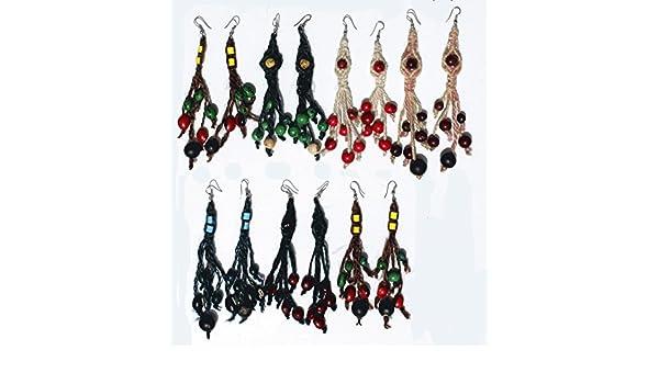 4f618a18caeb Lot 7 pares de aretes redondos semillas compran artesanal peruana joyería  hecha en casa natural  Amazon.es  Joyería