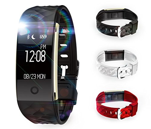 X-CHENG Fitness Tracker - IPX7 Waterproof OLED Touch Screen - Equipped with 3-color Watch Bands - Heart Rate Monitors& Pedometer& Information Reminde.etc - Wireless Activity Trackers Smart Bracelet