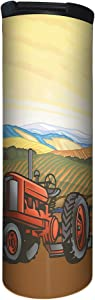 Tree-Free Greetings Barista Tumbler Vacuum Insulated, Stainless Steel Travel Coffee Mug/Cup, 17 Ounce, Tractor