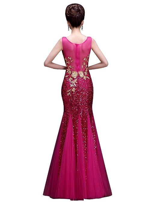 Applique de lentejuelas con cuello en V de Corte Sirena del vestido de noche sin mangas: Amazon.es: Ropa y accesorios