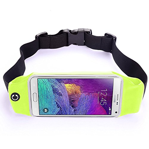 LS, Running&Fitness Waist Pack, Dual Large Pocket, Sweatproof, Reflective Zipper, Earphone Hole, Clear Touch Screen Window, Only for iPhone 6S/7 Plus, Samsung Galaxy S7/S6/ Edge, LG G5 & More (Green)