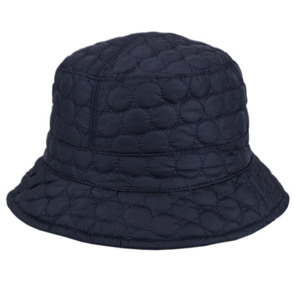 ANGELA & WILLIAM Foldable Water Repellent Quilted Rain Hat w/Adjustable Drawstring, Bucket Cap Bucket Cap - Navy