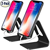 Cell Phone Stand, 2 Pack iPhone Stand Desktop Cradle Holder Dock for Tablet Nintendo Switch Android Smartphone iPhone 8 X 7 6 6s Plus SE 5 5s 5c iPad mini Charging Universal Accessories Desk - Black