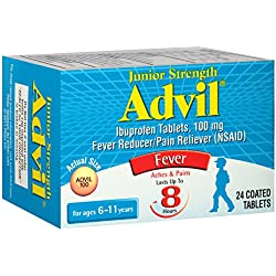 Advil Junior Strength Fever Reducer/Pain Reliever, 100mg Ibuprofen (24-Count Coated Tablets)