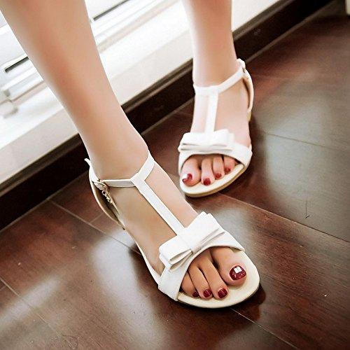 FANIMILA Mujer Moda Correa En T Sandalias Punta Abierta Square Heels 2cm Zapatos With Bow Blanco