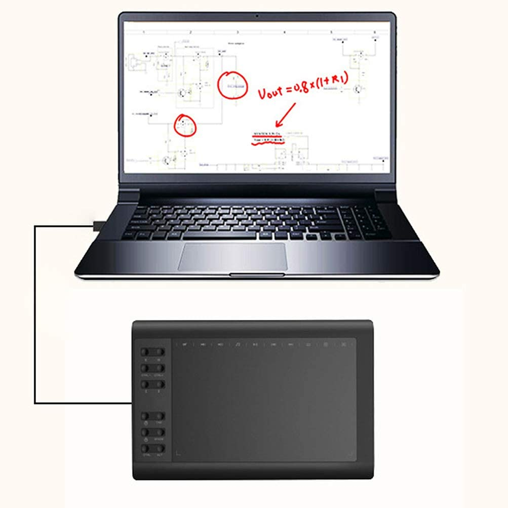 Designer,Amateur Solustre Computer Graphics Tablet with Battery-Free Passive Stylus 10x6 Inch Large Drawing Tablet for Artist