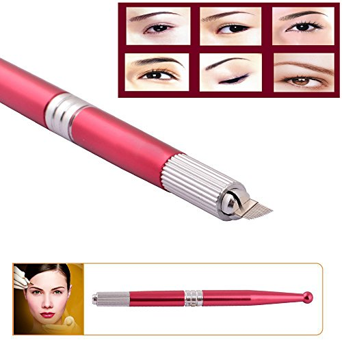 Price comparison product image Disposable Eyebrow Microblading Pen Set - CINRA Eyebrow Microblading Pens Permanent Makeup Manual Tattoo Pen for Permanent Makeup 2pcs (Red)