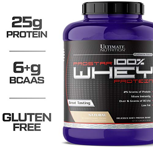 Ultimate Nutrition PROSTAR 100% Whey Protein Powder - Low Carb, Keto Friendly - 80 Servings, Natural, 5.28 Pounds