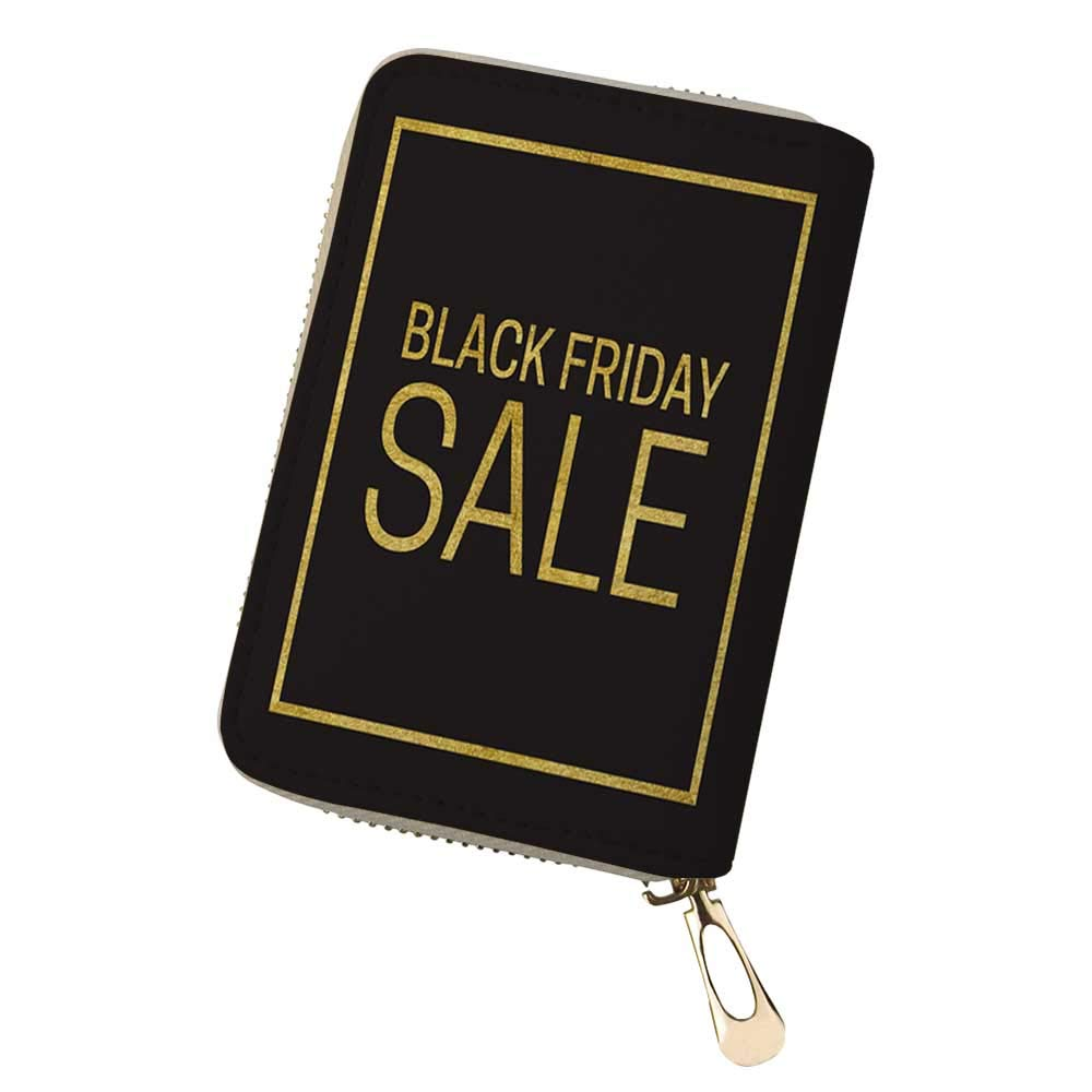 RFID Blocking Credit Card Holder Black Friday Sale Leather Zipper Card Case