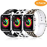Laffav Compatible with Apple Watch Band 40mm 38mm 44mm 42mm for Women Men, Soft Silicone Sport Pattern Band Replacement Strap for iWatch Apple Watch Series 4 3 2 1