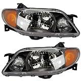 2001-2003 Mazda Protege Headlight Headlamp Halogen Composite (With Metal Coat Bezel) Head Lamp Light Pair Set Left Driver AND Right Passenger Side (2001 01 2002 02 2003 03)