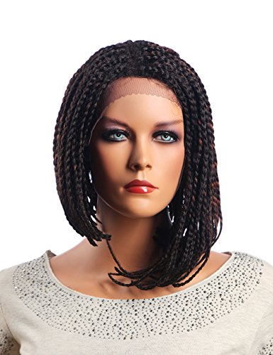 Price comparison product image Ufine Straight Bob Box Braid Wig Realistic Baby Hair Synthetic Braided Front Lace Wig For Black Women 14Inch(T4-30)