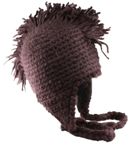City Hunter Peruvian Mohawk Winter Ski Trapper Knit Hat Dark Chocolate Brown