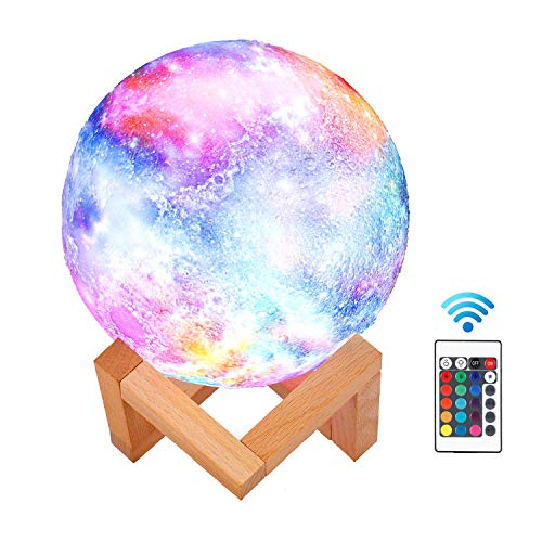 (ABEICO Moon Lamp-3D Starry Moon Night Light Lamp with Stand/Remote/Touch/USB Rechargeable, 16 LED Colors 5.9inch Moon Light Lamps Night Lights for Kids Baby Birthday Christmas-Cool Nursery Lamps)