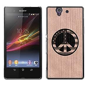- / Peace America Usa Freedom Sign - - Funda Delgada Cubierta Case Cover de Madera / FOR Sony Xperia Z L36H L36I C6603 Xperia Z / Jordan Colourful Shop/