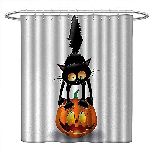 Anniutwo Halloween Shower Curtains Digital Printing Black Cat on Pumpkin Drawing Spooky Cartoon Characters Halloween Humor Art Bathroom Accessories W54 x L78 Orange Black ()