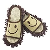 Moolecole Microfiber House Floor Cleaning Mop Slippers Detachable Mopping Shoes Cleaning Tool Fits Mens Size 7-8.5 Brown