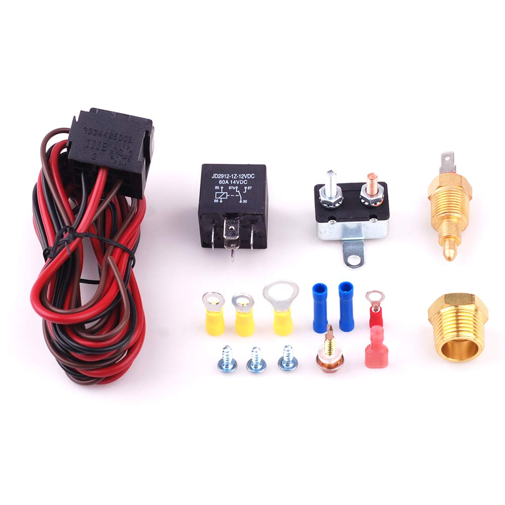Fan Thermostat Temperature Switch Engine Cooling Sensor Relay Kit 185 on