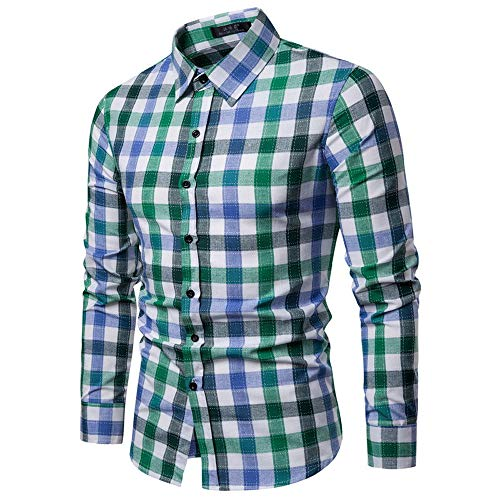 WOCACHI Men's Long Sleeve Plaid Checkered Button Down Casual Dress Shirts]()