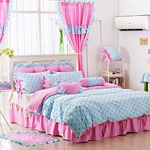 Sisbay Blue Pink Polka Dot Bed Set Twin for Baby Girls,Candy Color Duvet Cover Simple Bed Skirt (Cotton Candy Princess)