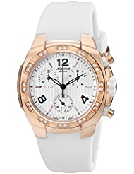 Alpina Avalanche Chronograph Womens White Rubber Strap Rose Gold Plated Diamond Watch AL-350LWWW2AD4