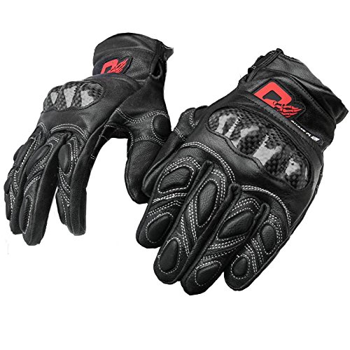 Motorcycle Carbon Fiber Leather Glove Full Finger Protecive Glove (M(6.5-7.5 inches))
