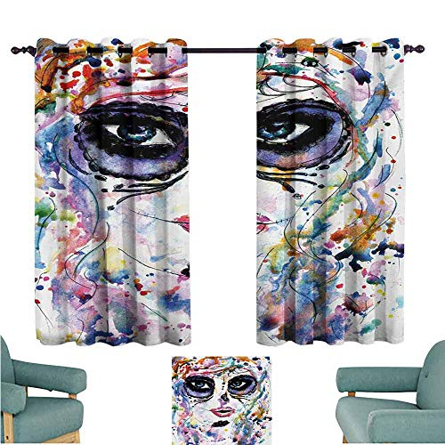 DONEECKL Room Darkening Wide Curtains Sugar Skull Halloween Girl with Sugar Skull Makeup Watercolor Painting Style Creepy Look Blackout Draperies for Bedroom Window W55 xL39 Multicolor -