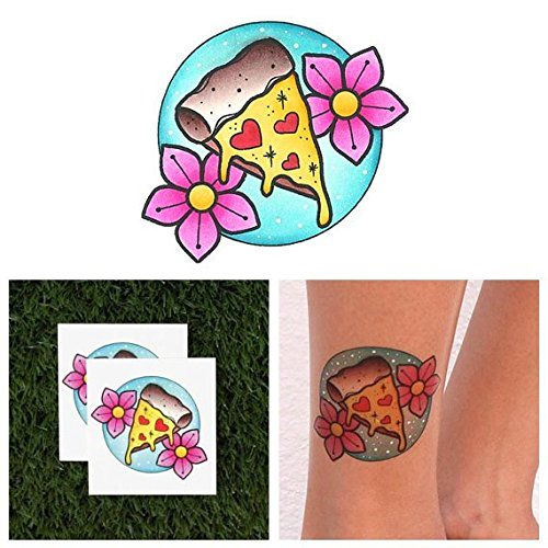 Tattify Pizza Temporary Tattoo - Slice of Life (Set of 2) - Other Styles Available and Fashionable Temporary Tattoos - Tattoos that are Long Lasting and (Makeup Artist Costume Ideas)
