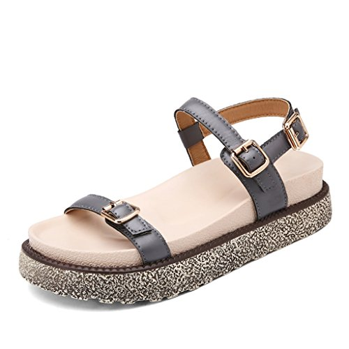 Casual Student Color WHITE Buckle Beach Slippers Flat Shoes Size Platform Bottom ZCJB Word And Thick Summer 36 Gray Sandals Shoes Female wqaxYT1CT0