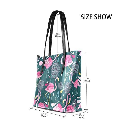 8c3c5306a4c60 COOSUN Muster mit Flamingos PU Leder Schultertasche Handtasche und Handtaschen  Tasche für Frauen ...