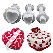 Heart Shaped Cookie Plunger Cutter Set of 3 Piece Mini Plastic Fondant Gum Paste Cupcake Toppers Molds Themed Wedding Birthday Baby Shower Favors Christmas Party Supplies