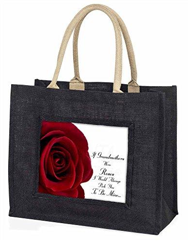 Advanta Wenn Grandmothers wurden Rosen große Einkaufstasche/Weihnachtsgeschenk, Jute, schwarz, 42x 34,5x 2cm