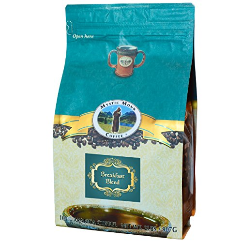 Mystic Monk Coffee: Breakfast Blend Whole Bean (Medium Roast 100% Arabica Coffee) – 32 Ounces