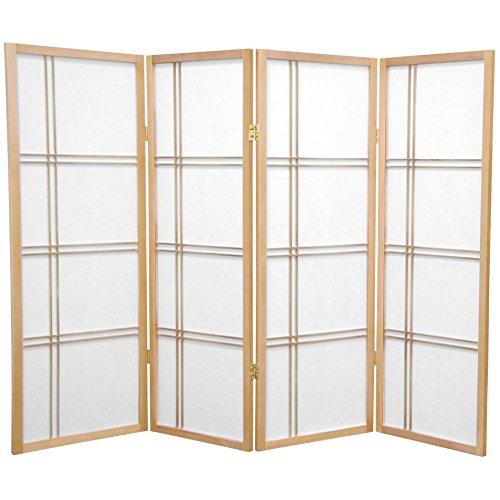 Oriental Furniture 4 ft. Tall Double Cross Shoji Screen - Natural - 4 Panels (Quality Furniture Rubberwood)