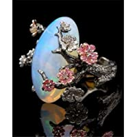 A.Yupha Retro White Fire Opal Plum Flower Ring 925 Silver Women Wedding Party Size 6-10 (10)