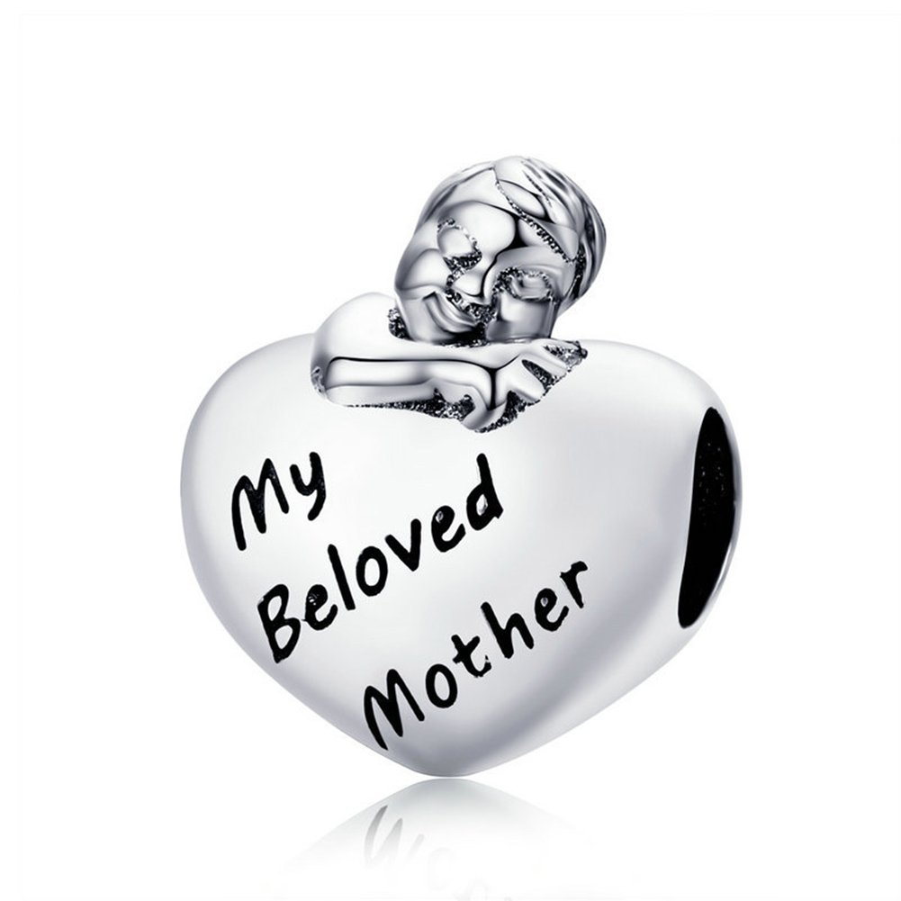 Beauty My Beloved Mother Charm 925 Sterling Silver Bead for Mom or Wife Fit DIY Bracelet PANDORà