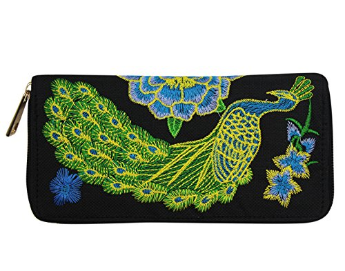 Women Embroidery Peacock Floral Purse Ethnic Style Wallet Clutch Handbag by C.C-US