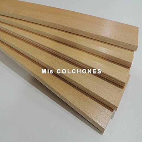 Recambio de láminas para somier o sofá ligeramente curvadas. Pack de 5 unidades. Medidas de largo 79,5 centímetros, de ancho 5,2 cm y de grueso 8 ...