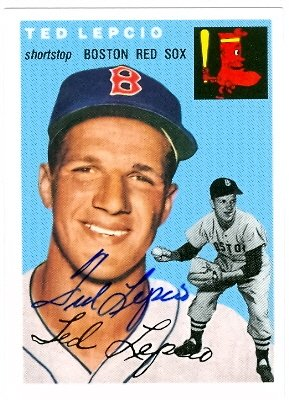 Autograph Warehouse 20872 Ted Lepcio Autographed 1954 Topps Archive Baseball Card Boston Red Sox from Autograph Warehouse