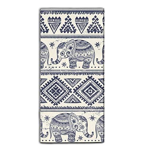 Miaoquhe Velvet Towel,Ethnic Elephant Towel,Quick Dry Travel Towel,Extra Absorbent-Compact for Sports,Camping,Backpacking,Yoga,(11.8 X 21.5 inch)