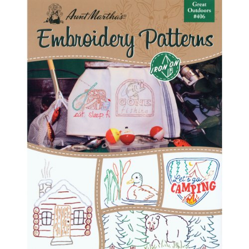 Aunt Martha's Great Outdoors Embroidery Transfer Pattern Book Kit - Embroidery Fabric Transfer