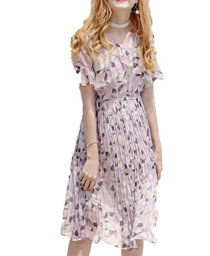 better-caress 2018 Summer Floral Print Women Chiffon Pink Dress Flare Sleeve Pleated Female midi Dresses,Pink,XL