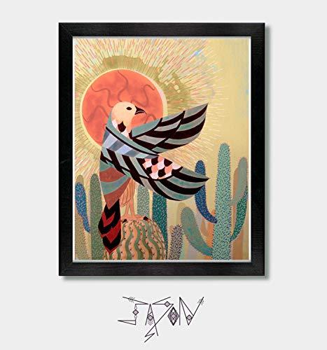 Rise With The Sun - Hawk Print, Mexican Folk Art, Mexican, Southwestern Decor, Southwest, Arizona, Texas, New Mexico, Sonoran, Desert Art, Falcon, Horus Hawk, Egypt, Horus, Cactus Decor, Mexico