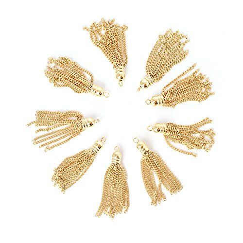 4 Pieces - 16K Gold Plated Metal Tassel Charm Tassel Earrings Supply Tassel Necklace Supply Jewelry Making Parts Jewelry Findings - 4PT - Plated Tassel Gold